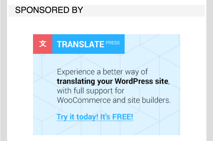Example of sponsored post by WPmail.me.