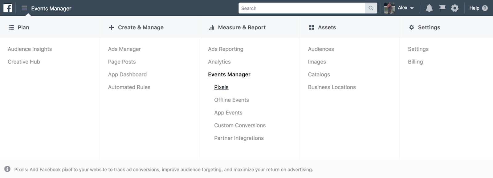 Facebook Events Manager dashboard