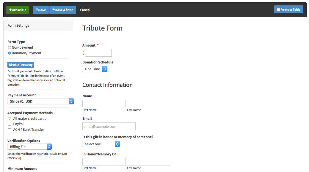 Collect tributes using an LGL form - Little Green Light Knowledge Base