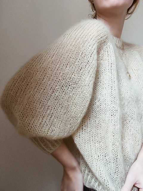 Sweater Number 1 by My Favourite Things in cream, with focus on sleeve detail
