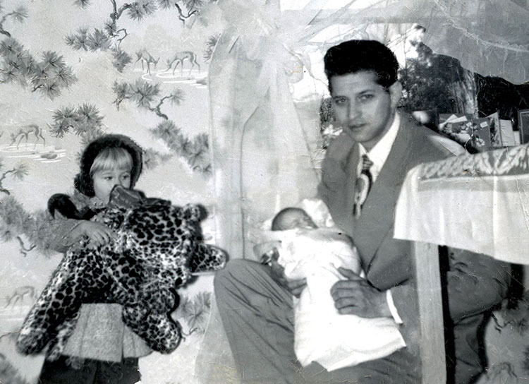 Lowell with Linda and Wendy, 1950s