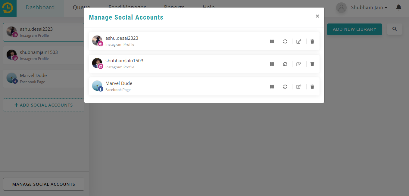 manage social account - recurpost - social media scheduler