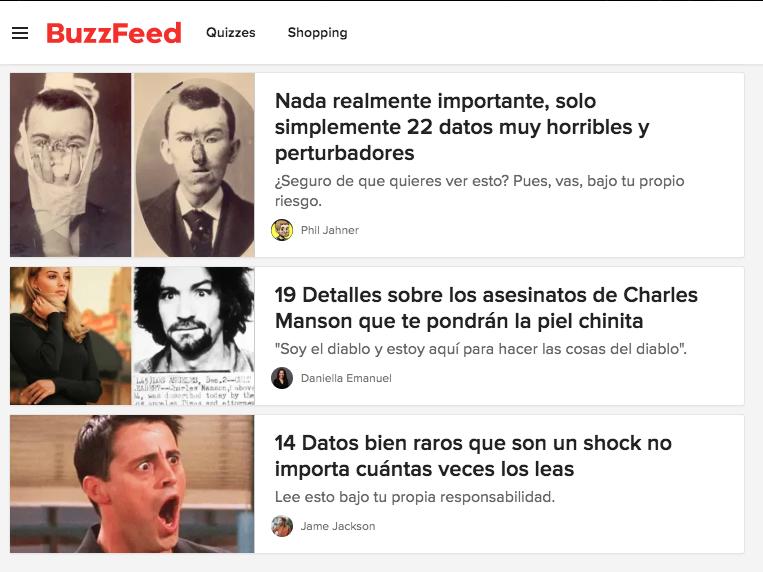 Ejemplos de clickbait: «Datos muy horribles y perturbadores»