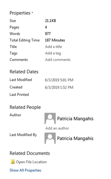 A sample of a document whose author is visible within the document properties.