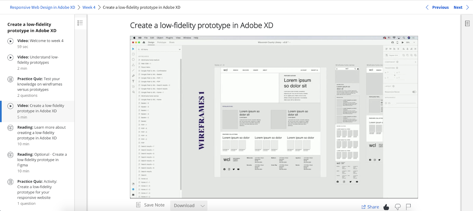 A screenshot from the Google UX Design Certificate course covering the prototyping process in Adobe XD.