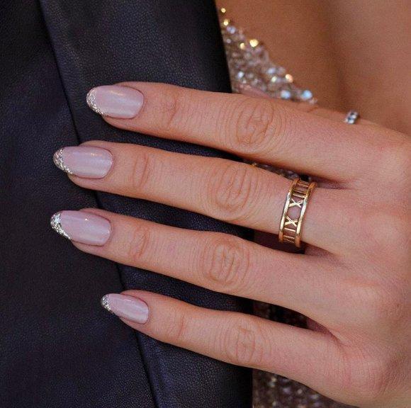 серебряный френч для длинных ногтей