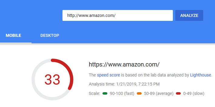mobile first indexing - Amazon