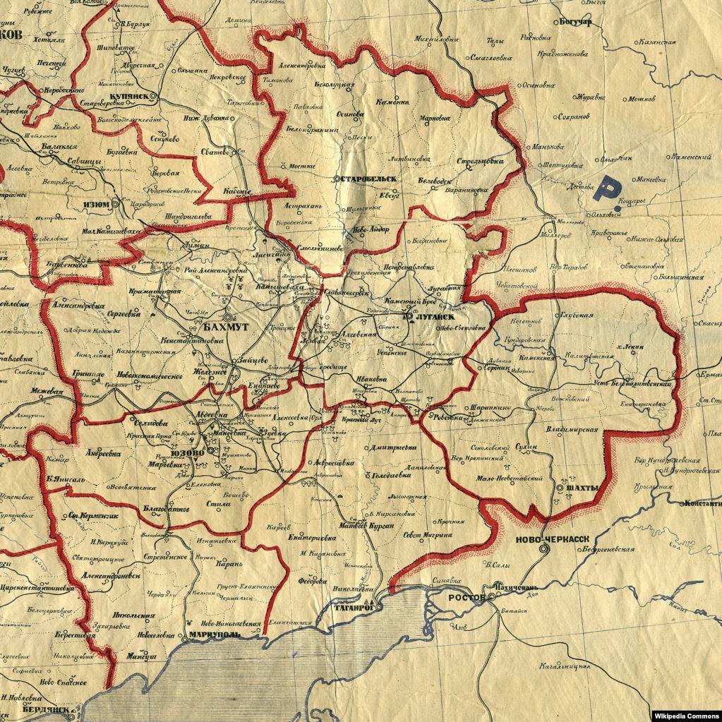 Карта Таганрізької округи у складі Донецької губернії, 1923 рік