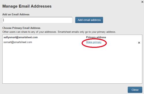 Gerenciar endereços de e-mail