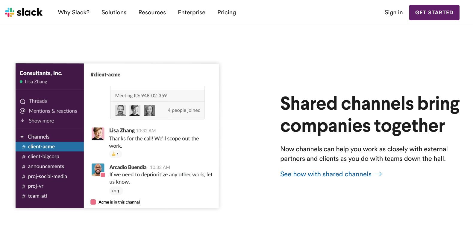 Slack's Homepage - SaaS Marketing Example