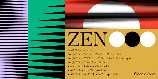 7種類のZenフォントファミリーの名前と、薄紫、緑、赤、黄土色のそれぞれの背景色にさまざな太さの黒いラインでグラデーションが描かれている