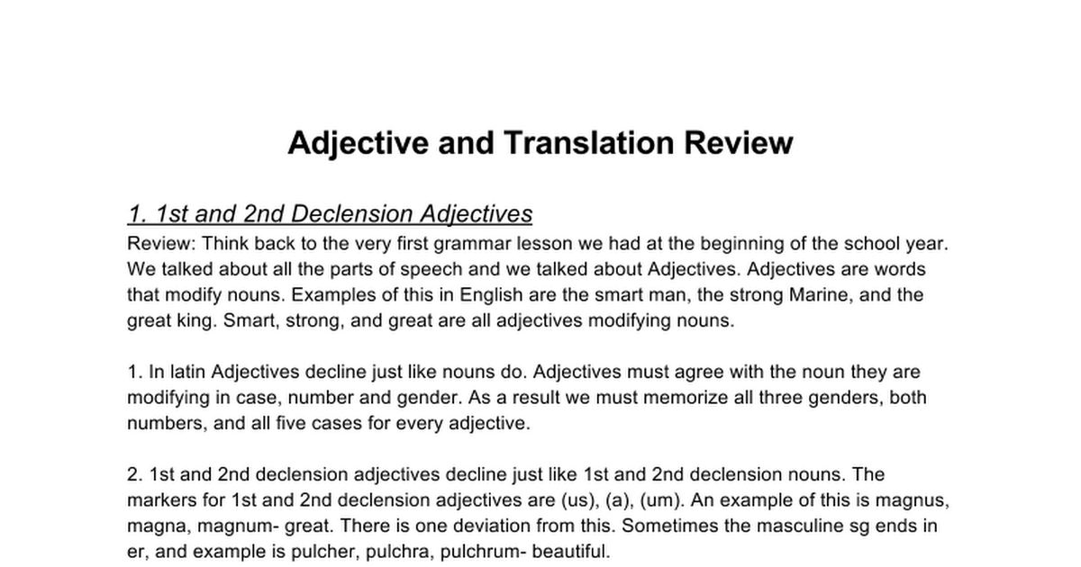 Copy Of Latin B Latin A Adjective And Translation Review Google Docs