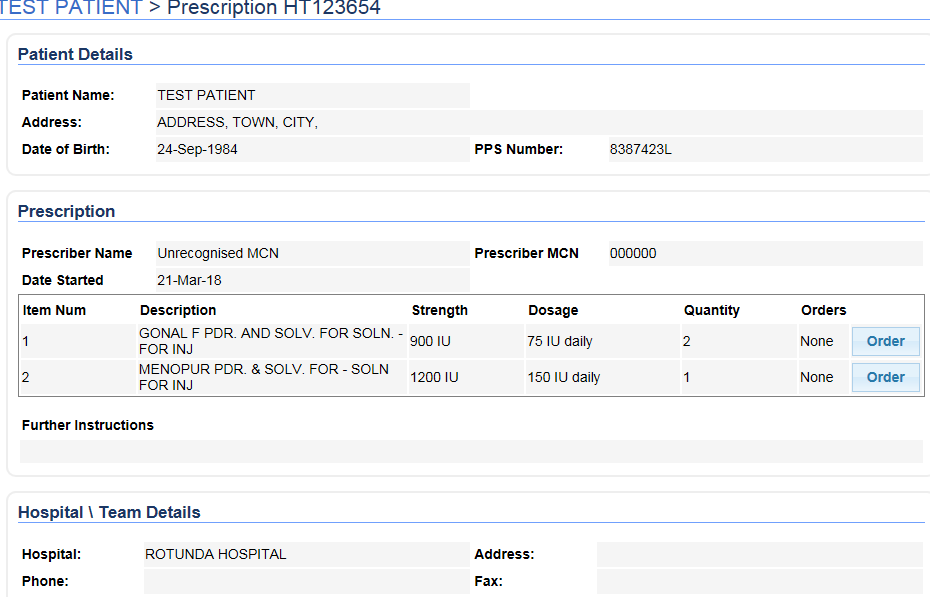 Prescription and Patient details are retrieved from the Hub and the item can be ordered from the screen.