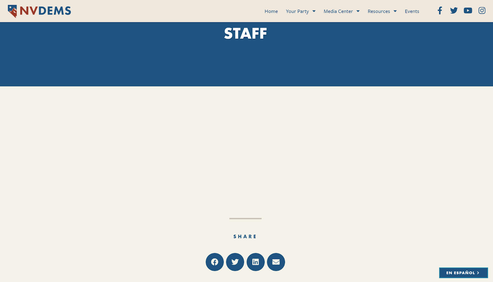 Screenshot of the Nevada Democratic Party webpage on March 11. Currently, the staff section is completely blank because all members resigned after a Democratic Socialists of America backed coalition swept all seats in a recent election.