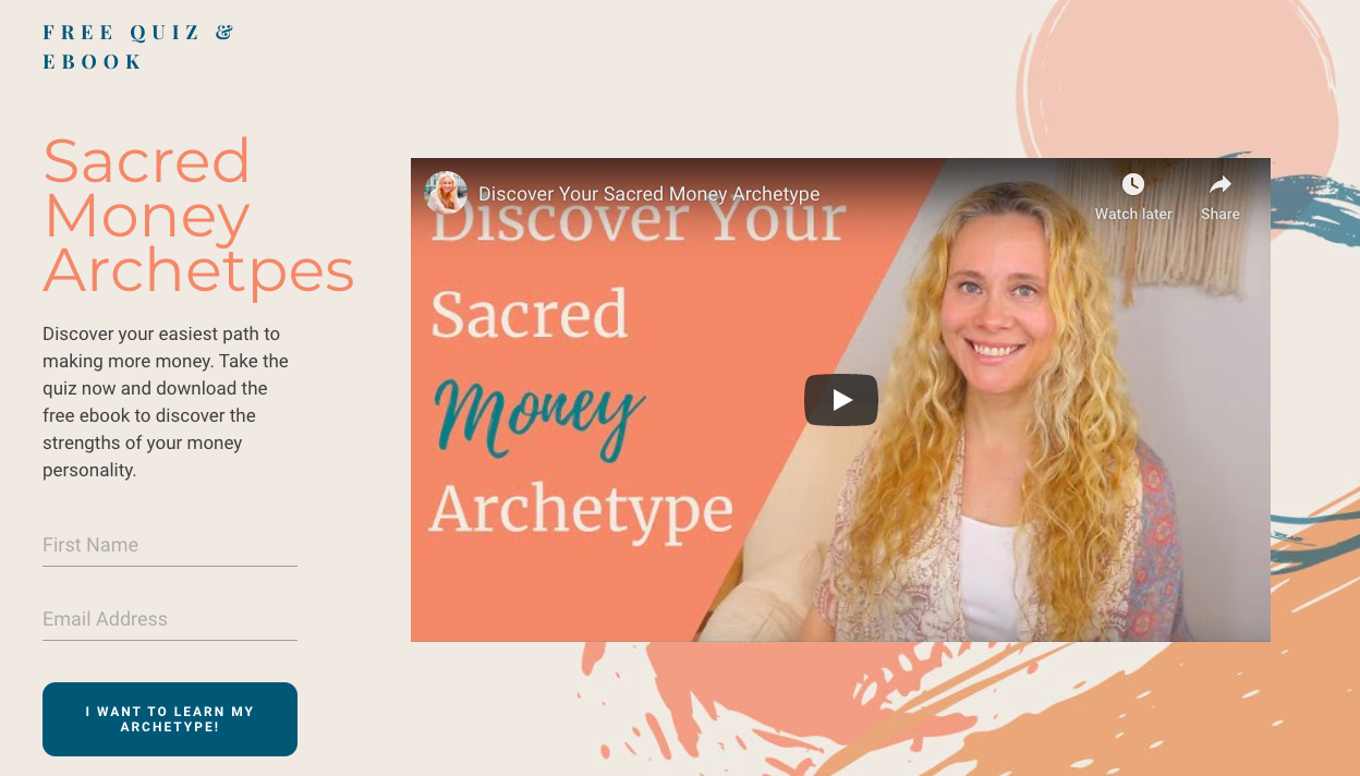 landing page with opt-in form for Sacred Money Archetypes quiz
