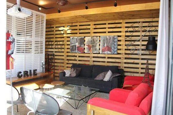 sala madeira reciclada