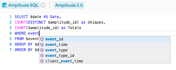 Amplitude sql example