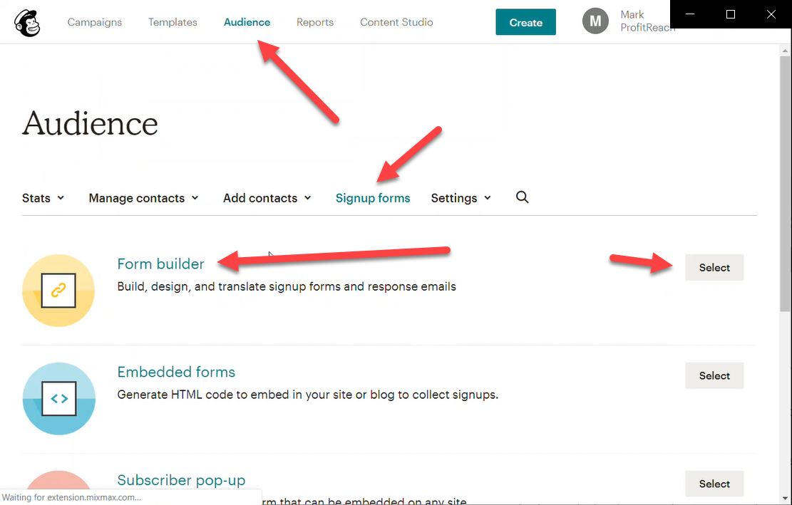 Go to Audience > Signup Forms > Form Builder