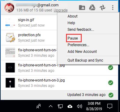 pause Google Drive Backup and Sync