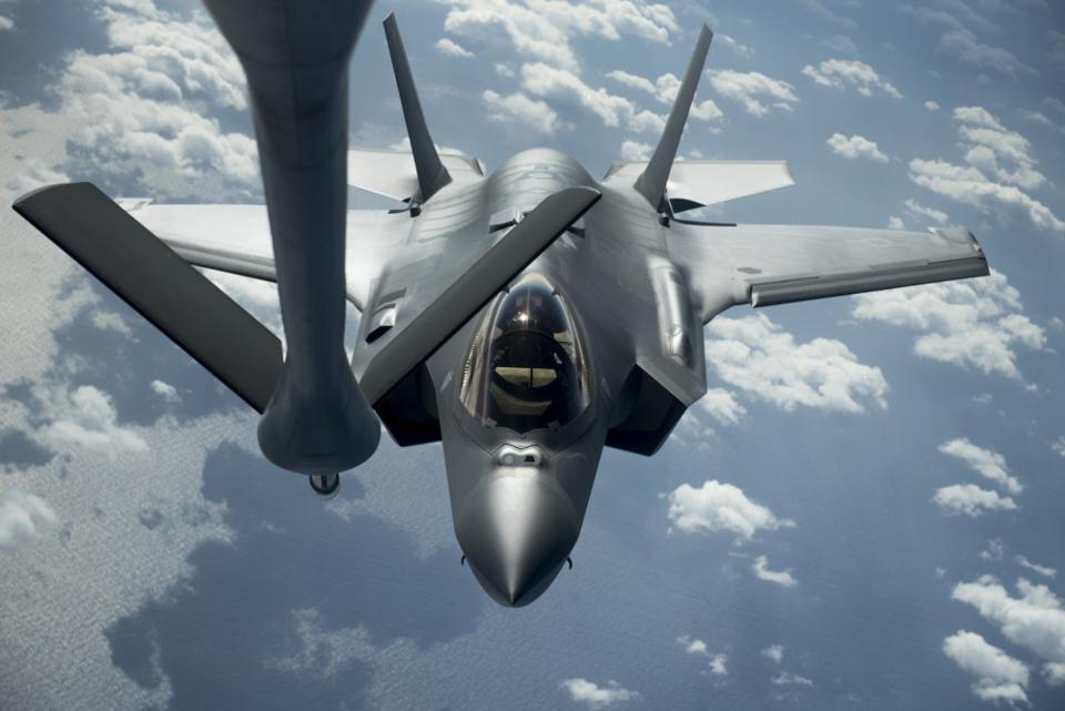 An Air Force F-35 prepares to refuel in flight.
