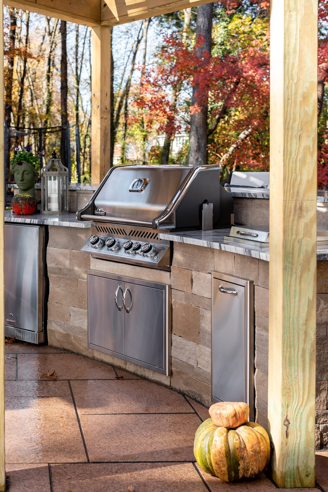 Outdoor kitchen with natural stone