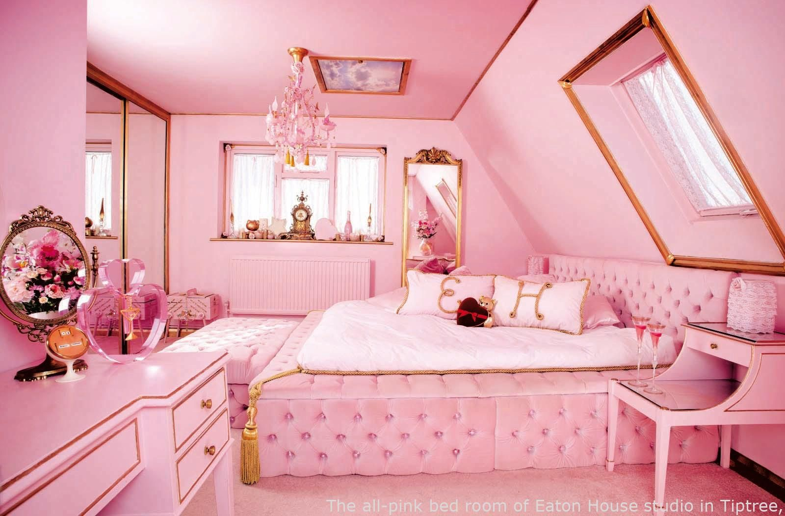 Cherry Blossom Pink Bedroom with Gold Lines
