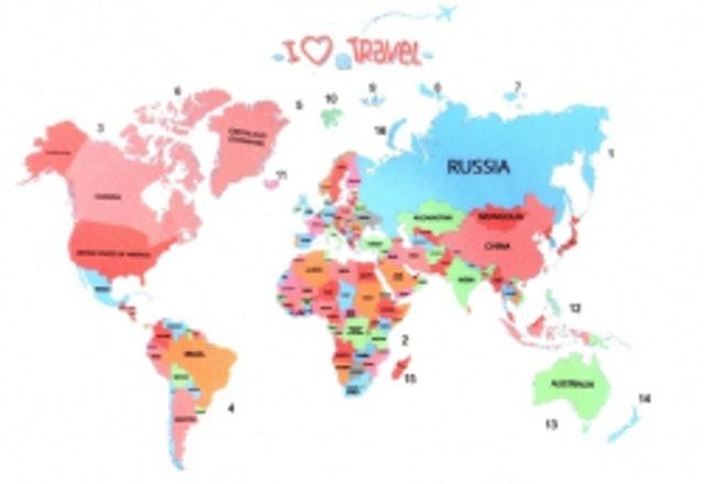 2. สติกเกอร์ติดผนังถอดออกได้ลายแผนที่โลก
