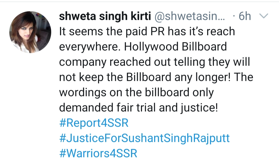 Shweta Singh criticizes paid PR as Sushant's billboard is taken down from Hollywood.