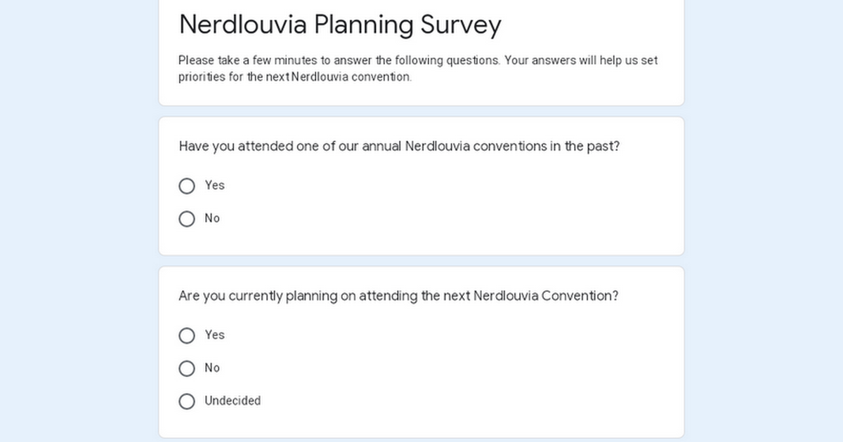 Nerdlouvia Planning Survey