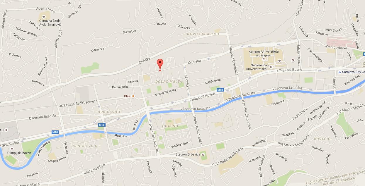 Ako dolazite autom preko Zenice i ulazite u Sarajevo preko Vogosce, idite glavnom cestom prema centru (ne skrecuci ni lijevo ni desno) sve dok ne dodjete do velike raskrsnice preko koje ide i tramvajska pruga. Na toj raskrsnici skrenite desno uz prugu (nemojte ulaziti u malu ulicu koja se nalazi odmah poslije semafora, nego idete bas na glavnu cestu) i onda samo ravno. Iduci tako proci cete Holiday Inn hotel, novu americku ambasadu, kampus univerziteta (sve s desne strane). Trebate proci 8 semafora, tj. na osmom semaforu skrecete desno (na toj raskrsnici s lijeve strane cete vidjeti dvije staklene gradjevine, narandzaste i zelene boje), i ta ulica u koju skrecete se zove Lozionicka; idite ravno do kraja gdje cete vidjeti Mercator shoping centar. Na tom zadnjem semaforu ispred Mercatora, skrenite lijevo i sad ste u nasoj ulici Marka Marulica. Idite ravno oko 200 m i trazite broj 18. Lako cete uociti nasu crkvu jer na kuci stoji crvena tabla na kojoj pise Evandjeoska crkva Sarajevo i nalazi se preko puta dva bijela nebodera/solitera. :) Ako dolazite autom preko Mostara i Zenice (u ovom slucaju idete ravno prema Centru a ne preko Vogosce), onda samo pratite putokaze prema Centru. Kada ste na glavnoj cesti idite samo ravno. Iduci tako najprije cete vidjeti staklenu palvu zgradu koja izgleda kao dva spojena polukruga (AVAZ business centar). Poslije te zgrade, takodjer imate 8 semafora, tj. skrenite lijevo na osmom semaforu (s vase lijeve strane ce biti Heco Market, a s desne strane Robot shoping centar, ispred vas s desne strane dvije staklene gradjevine, narandzaste i zelene boje) i ulica u koju skrecete se zove Lozionicka; idite ravno do kraja gdje cete vidjeti Mercator shoping centar. Na tom zadnjem semaforu ispred Mercatora, skrenite lijevo i sad ste u nasoj ulici Marka Marulica. Idite ravno oko 200 m i trazite broj 18. Lako cete uociti nasu crkvu jer na kuci stoji crvena tabla na kojoj pise Evandjeoska crkva Sarajevo i nalazi se preko puta dva bijela nebodera/solite