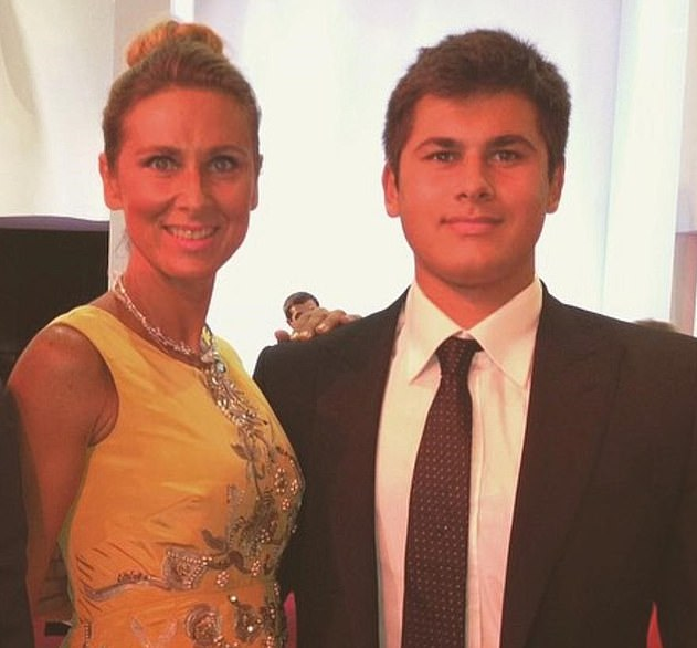 Ms Akhmedova is pictured with her son Temur in 2014 before their relationship deteriorated
