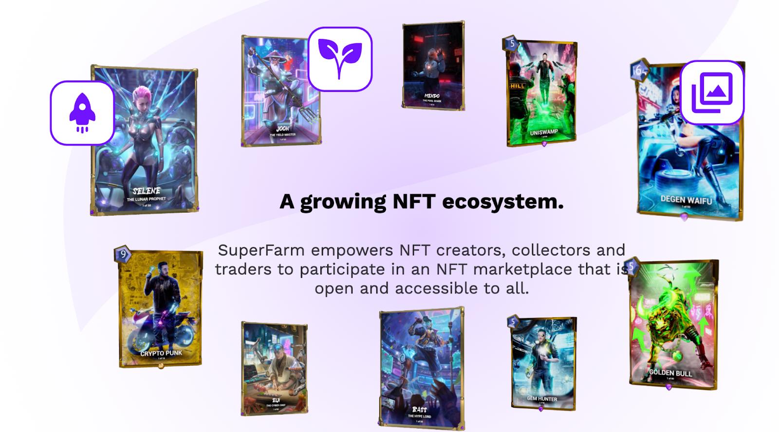 An image of the vast SuperFarm NFT ecosystem