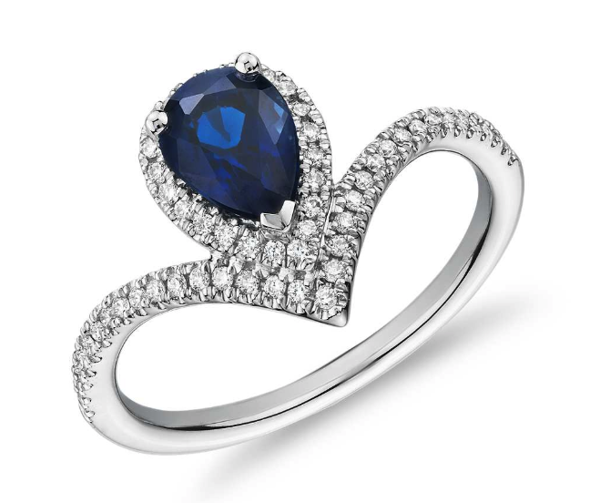 Pear-Shaped Sapphire and Diamond Halo Chevron Ring from Blue Nile