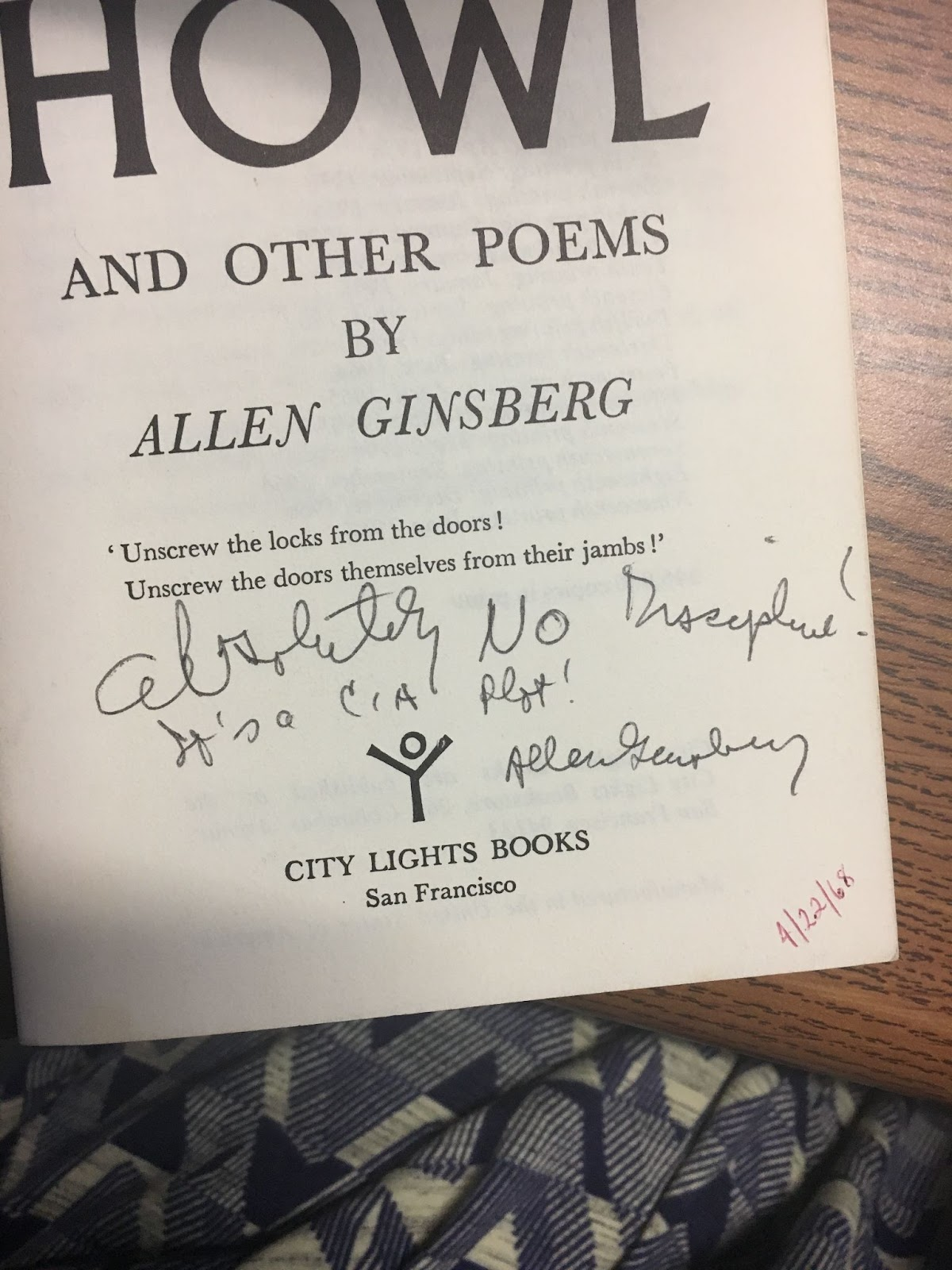 A copy of Allen Ginsberg's Howl signed and inscribed by Ginsberg, held at Naropa's Allen Ginsberg Library.
