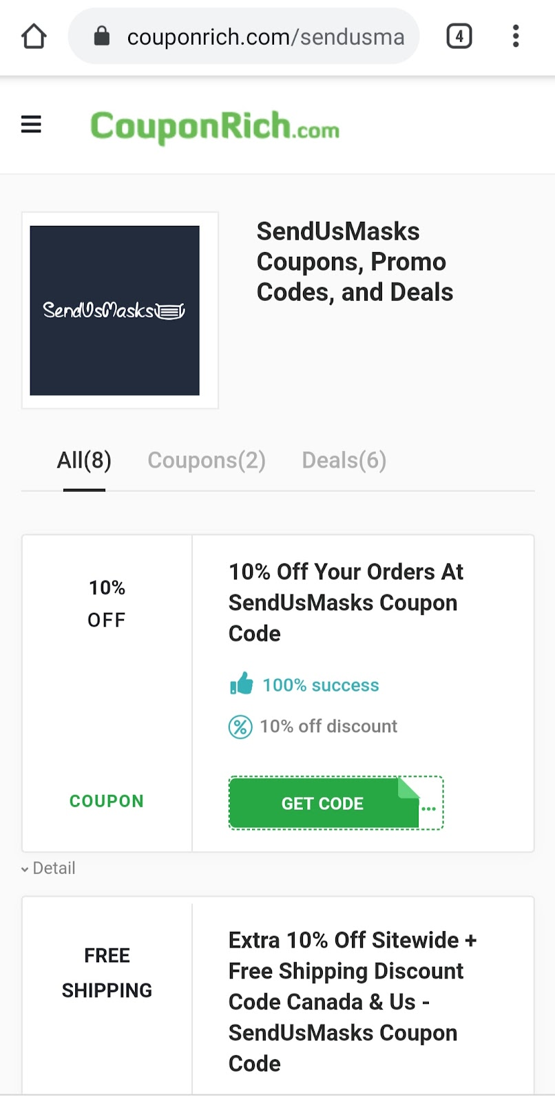 SendUsMasks coupon code
