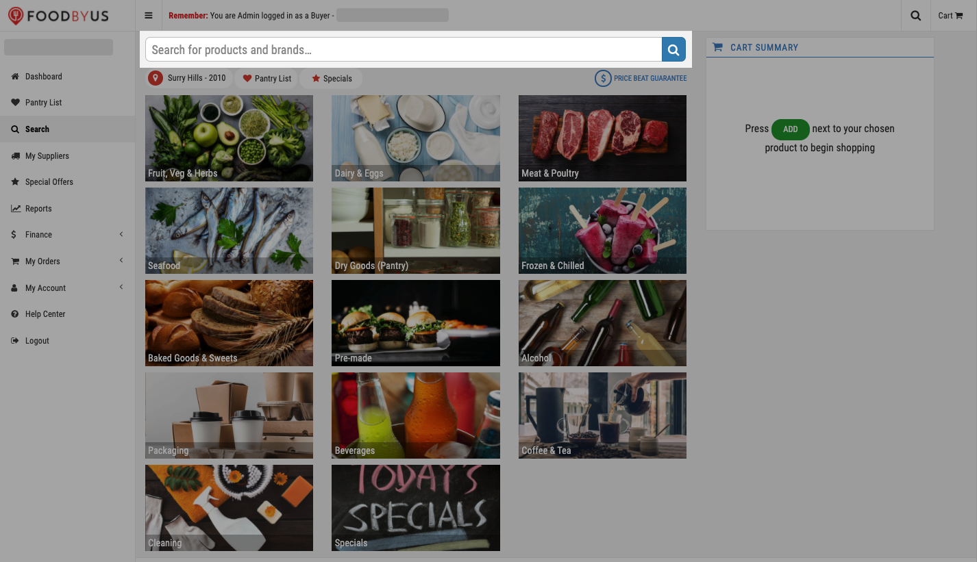 FoodByUs_dashboard_search_for_products