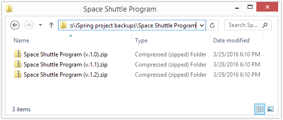 A folder on your disk that stores different versions of the zipped project. Version control.