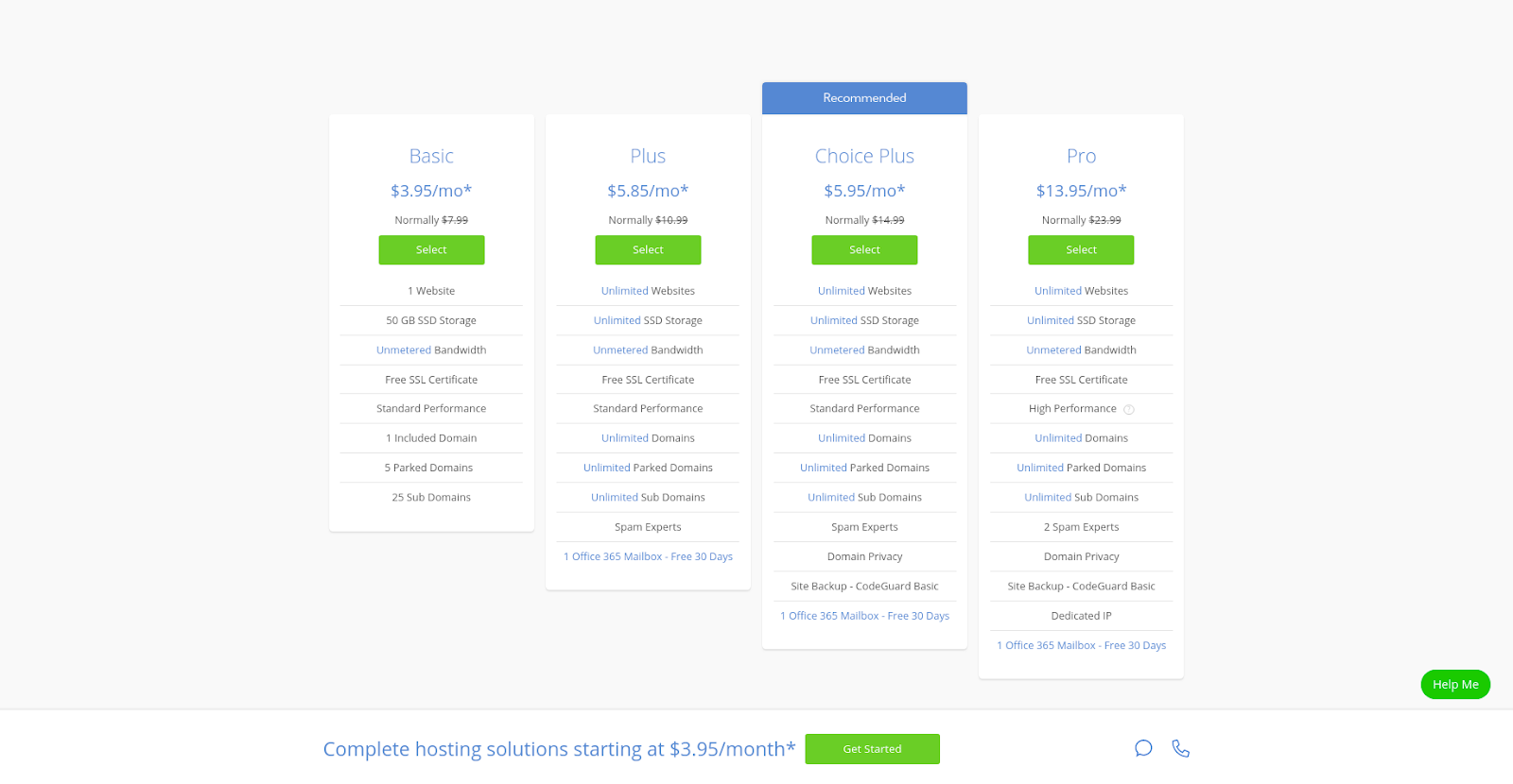 bluehost hosting pricing