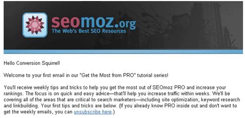 SEOMOZ email 2