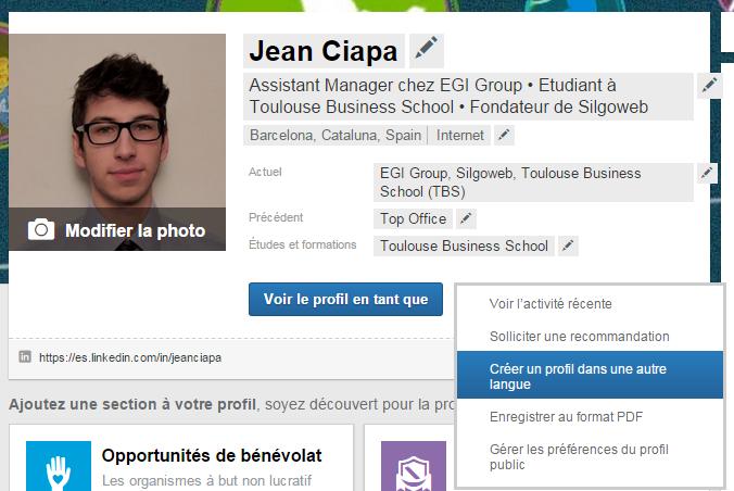 Exemple de mon profil LinkedIn
