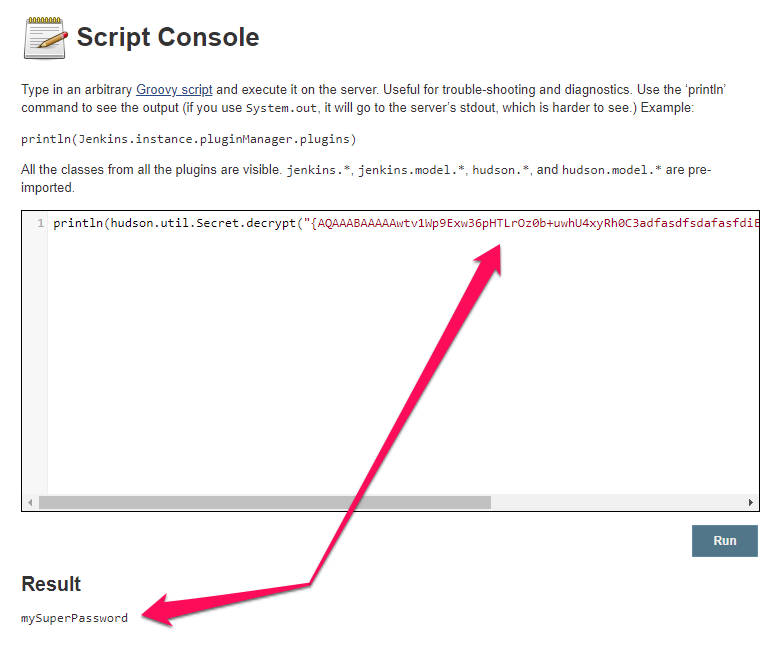 Script console can decrypt the data shown in this screenshot of the Groovy Script and code, White Oak Security's pentesters prove the AWS environment is compromised.