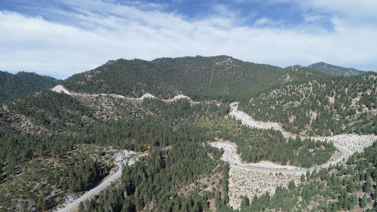 Drone photo of Kingsbury Grade near Daggett pass while climbing by bike.