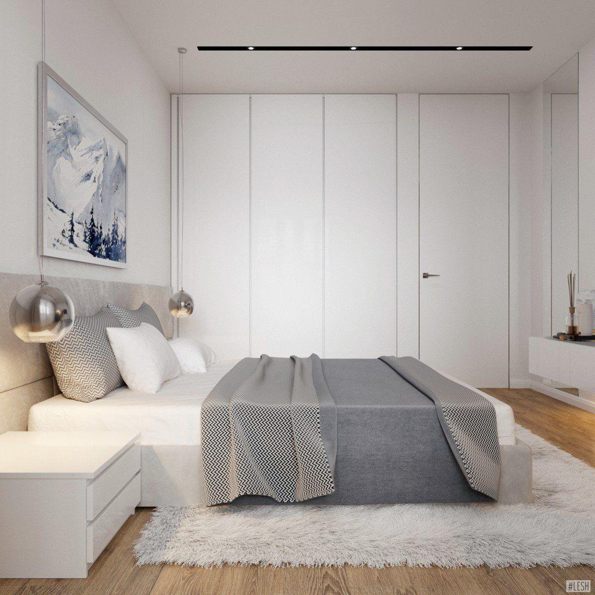 Phòng ngủ sử dụng tủ âm tường màu trắng