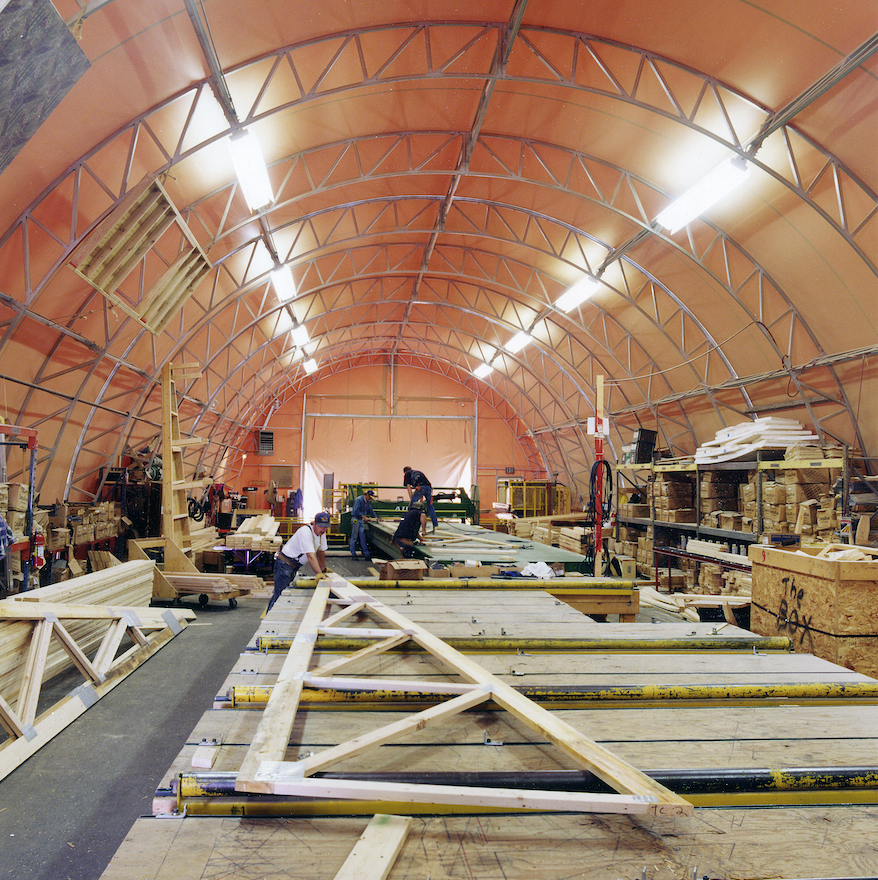 Alaska Structures' fabric building being used as a workshop.