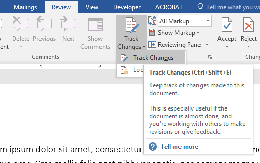 Turn on Track Changes in Microsoft Word