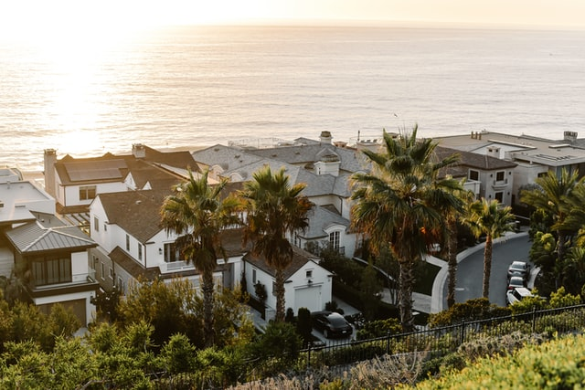 Short term rental properties near the sea captured during daytime