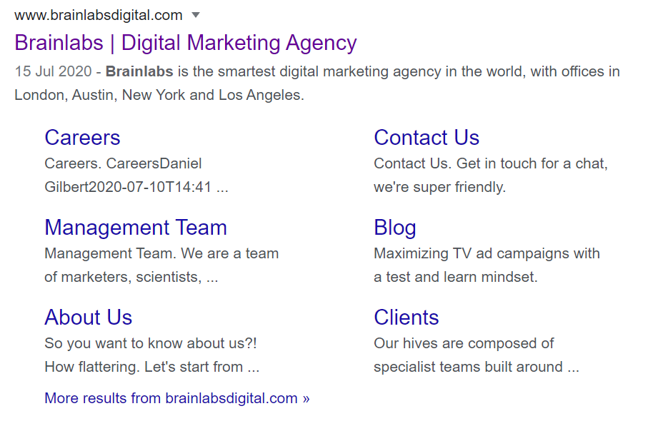 screenshot of SERP for brainlabsdigital.com listing with sitelinks