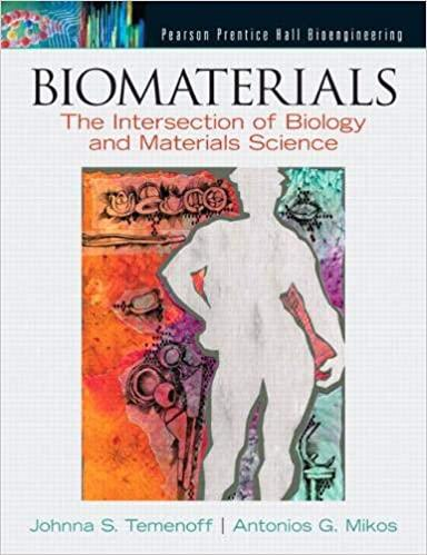 The Cover of Biomaterials, The intersection of biology and materials science on a white background. There is an outline of a human being's body surrounded with a colourful drawings. The colours include orange, green, purple and red.