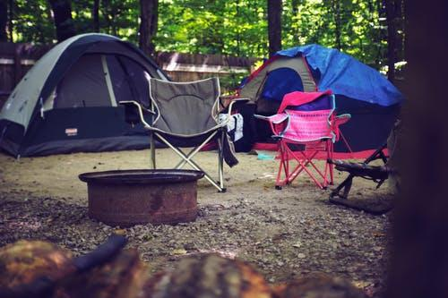 Two Pink and Gray Camping Chairs