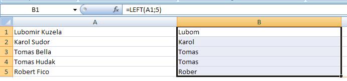 Excel: Práca s textovými reťazcami v bunkách 1